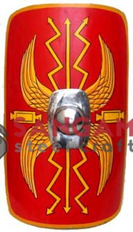 "Roman Shield Scutum 42"" x 33"" Brass Lined"